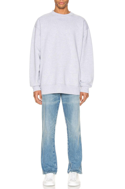 Image 4 of Acne Studios Forban Pink Label Sweatshirt in Pale Grey Melange