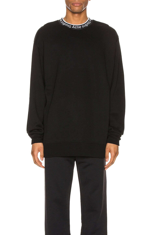 Image 1 of Acne Studios Logo Rib Sweatshirt in Black