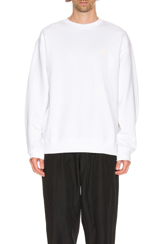 Image 1 of Acne Studios Forba Face Sweatshirt in Optic White