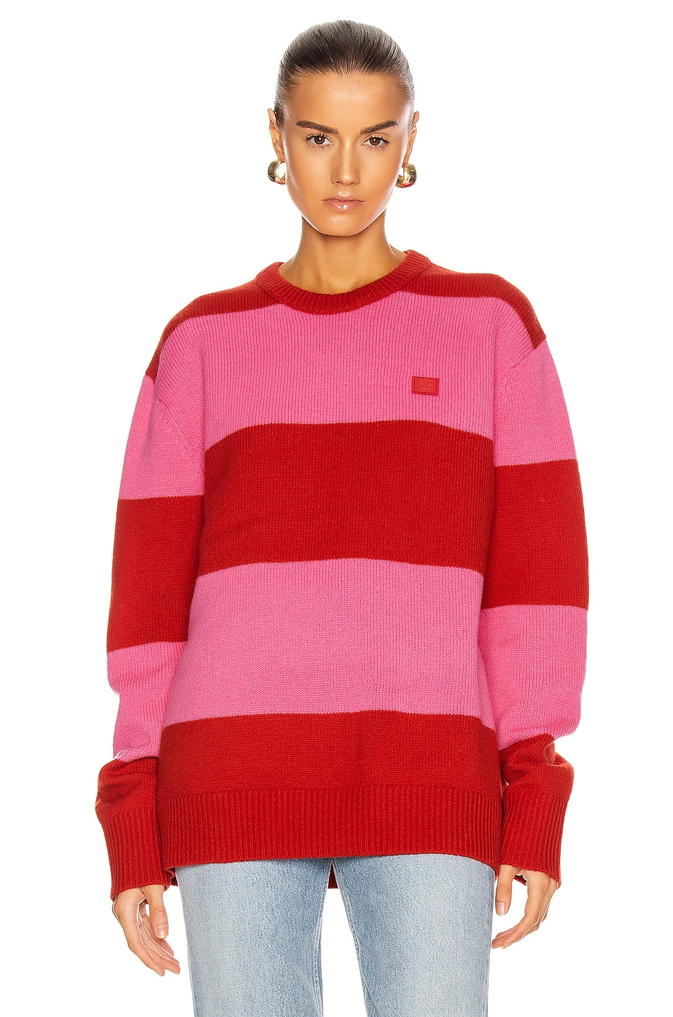 Image 1 of Acne Studios Stripe Sweater in Red & Bubblegum Pink