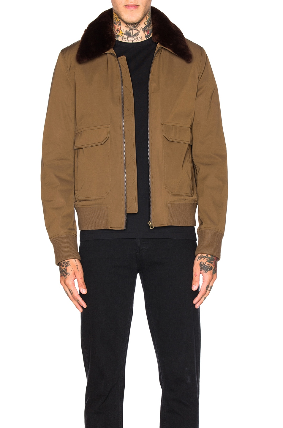 Image 1 of Acne Studios Abel Twill Jacket in Olive Green