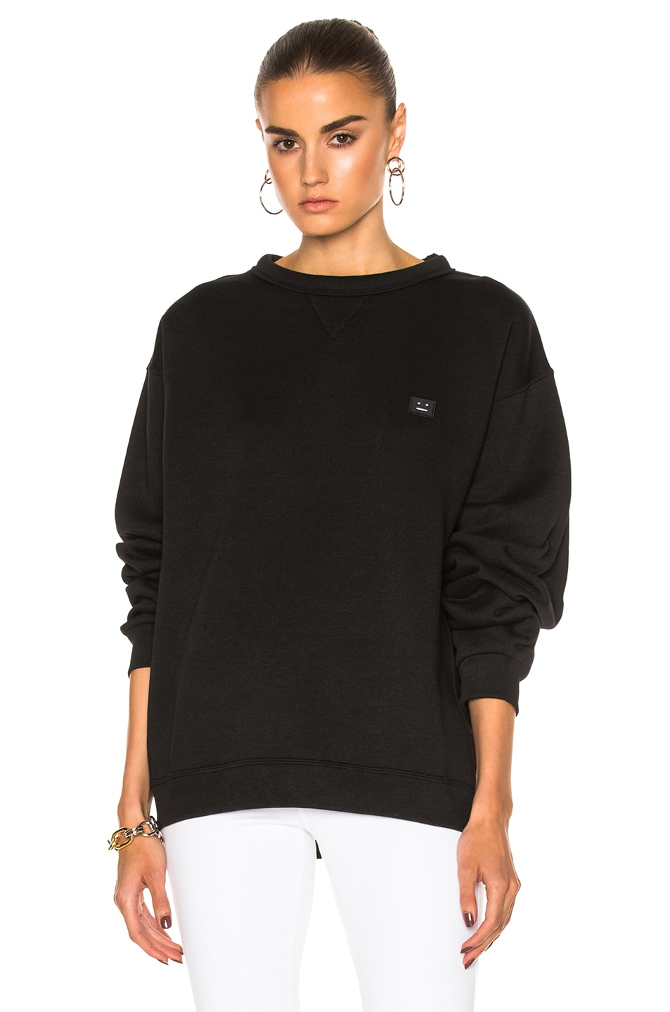 Image 1 of Acne Studios Fint Face Sweatshirt in Black