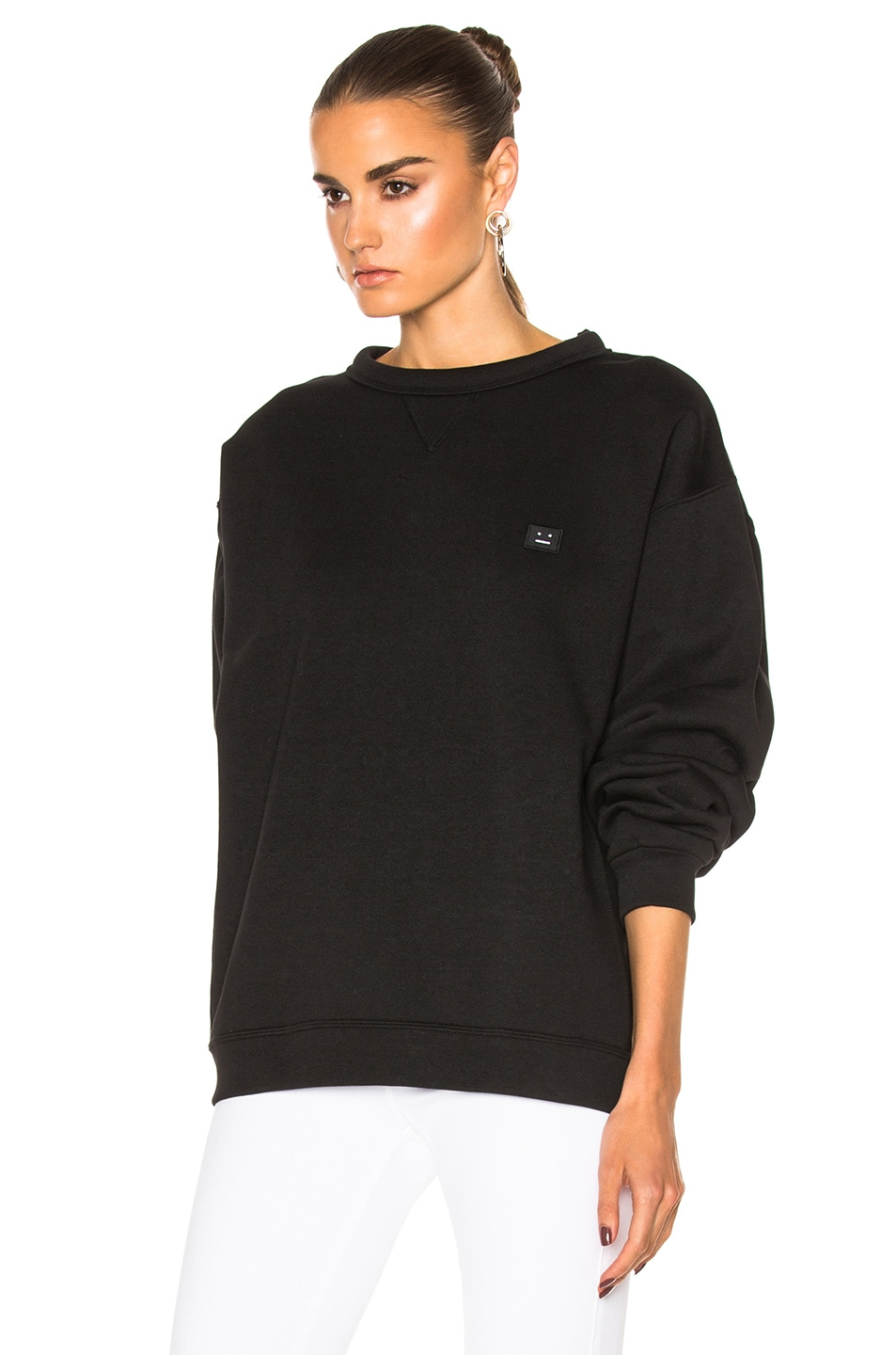 Image 2 of Acne Studios Fint Face Sweatshirt in Black