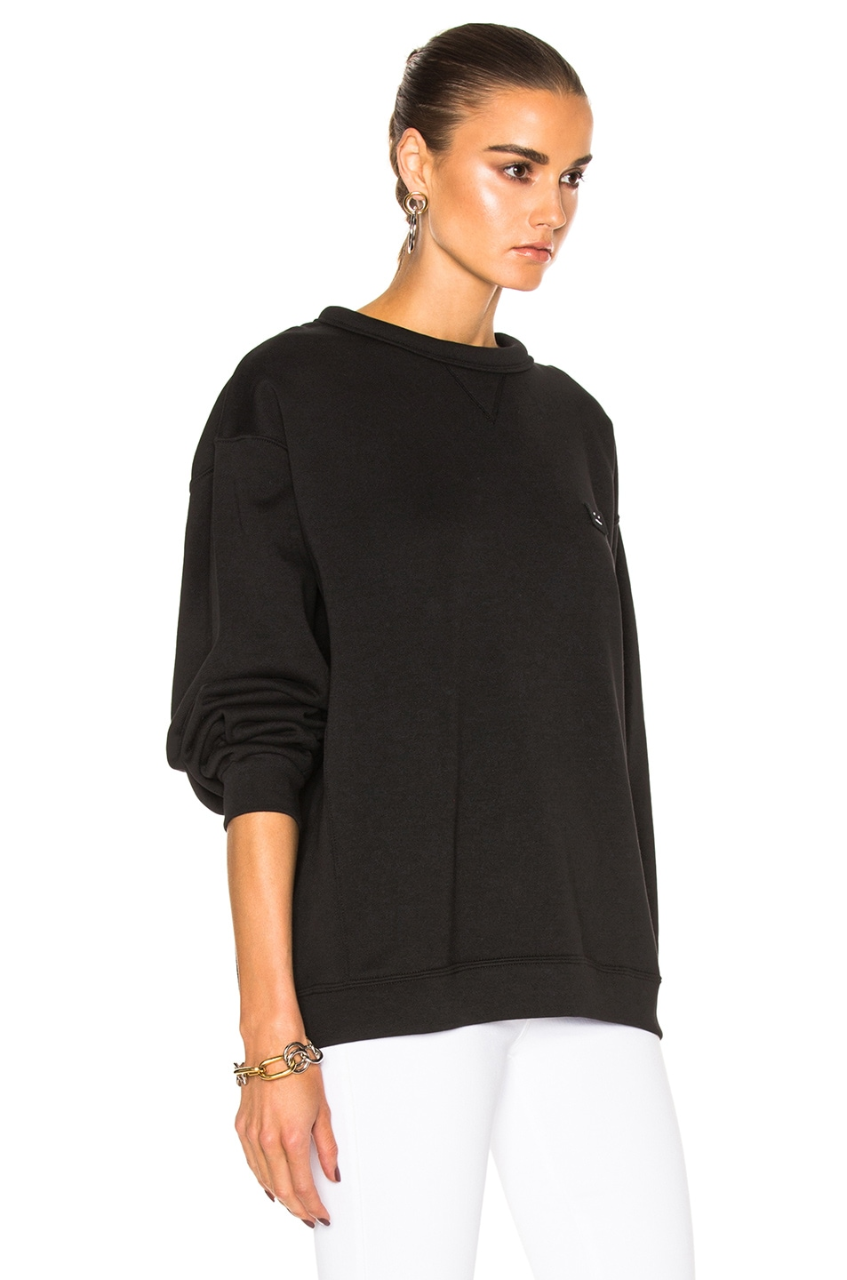 Image 3 of Acne Studios Fint Face Sweatshirt in Black