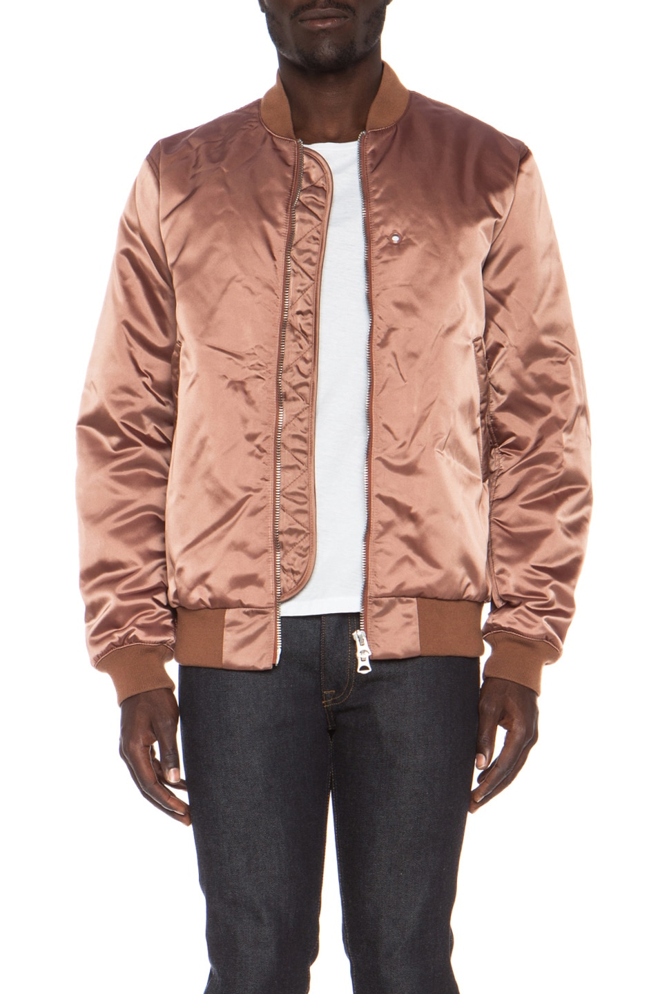 Image 1 of Acne Studios Melo Satin Bomber in Dusty Pink