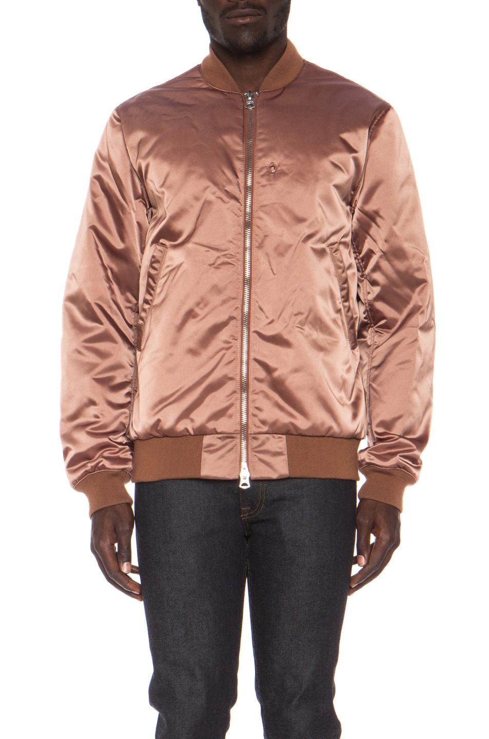 Image 2 of Acne Studios Melo Satin Bomber in Dusty Pink