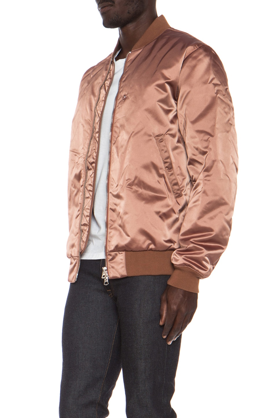 Image 3 of Acne Studios Melo Satin Bomber in Dusty Pink