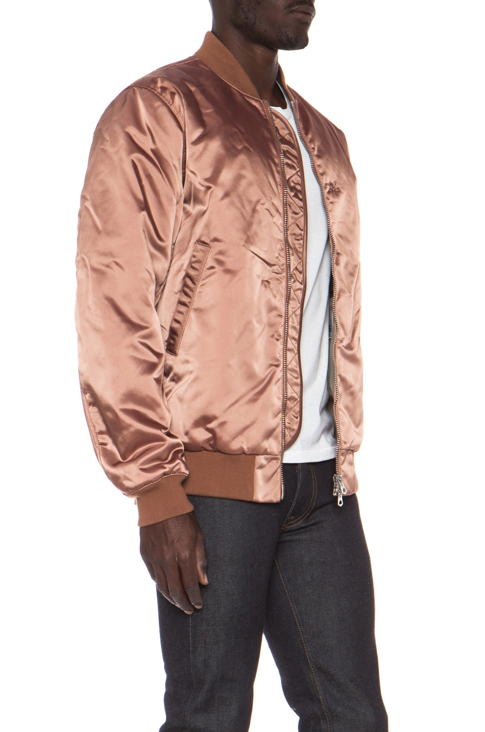 Image 4 of Acne Studios Melo Satin Bomber in Dusty Pink