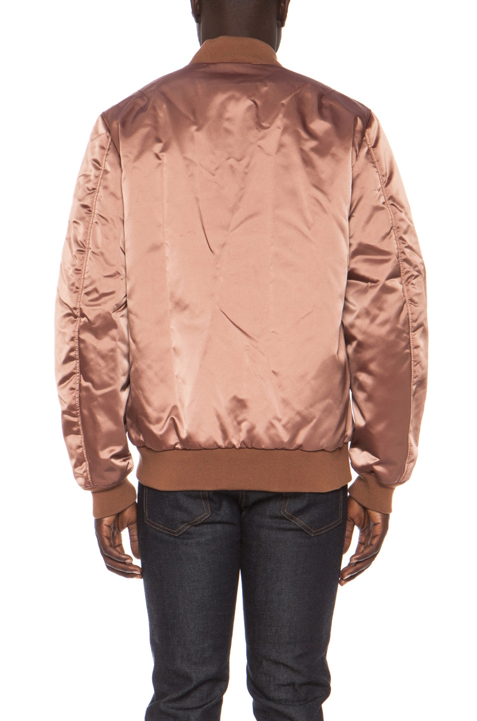 Image 5 of Acne Studios Melo Satin Bomber in Dusty Pink