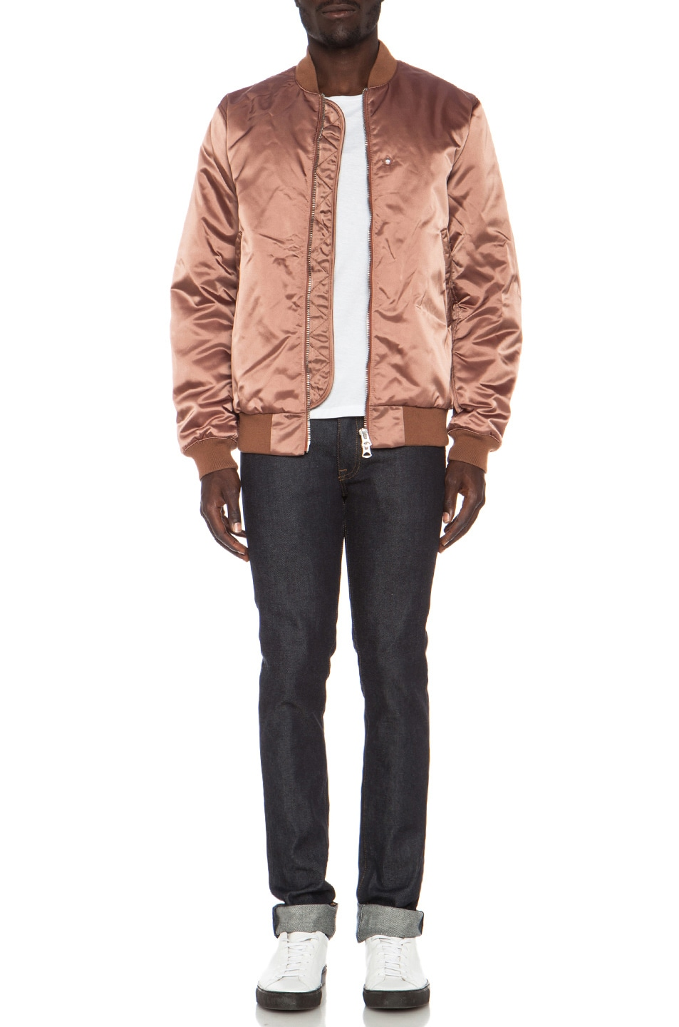 Image 6 of Acne Studios Melo Satin Bomber in Dusty Pink