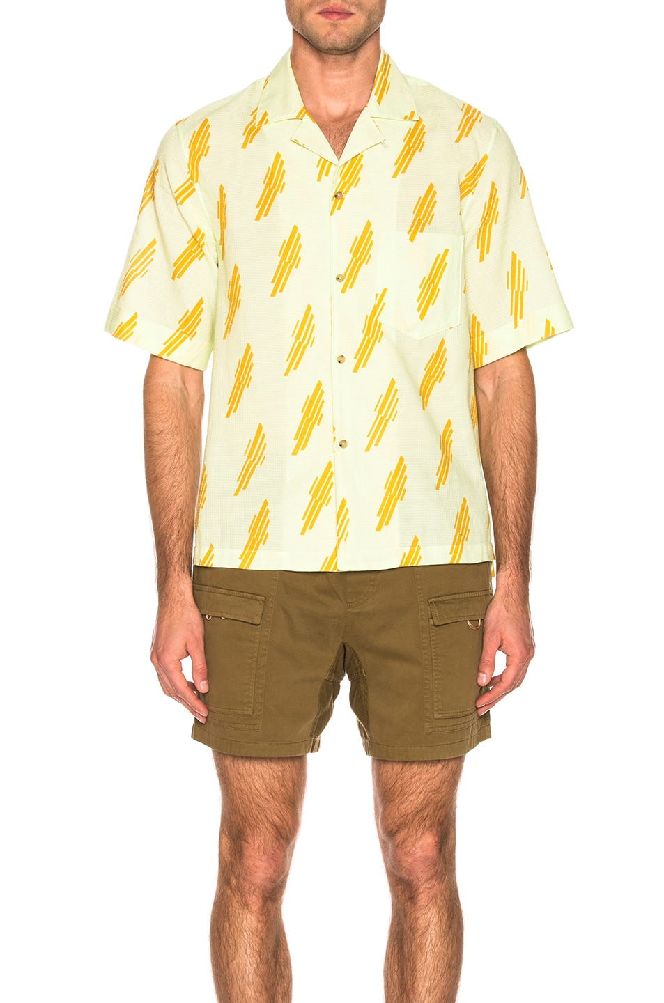Image 2 of Acne Studios Simon Diag Shirt in Mint Green & Sunflower Yellow