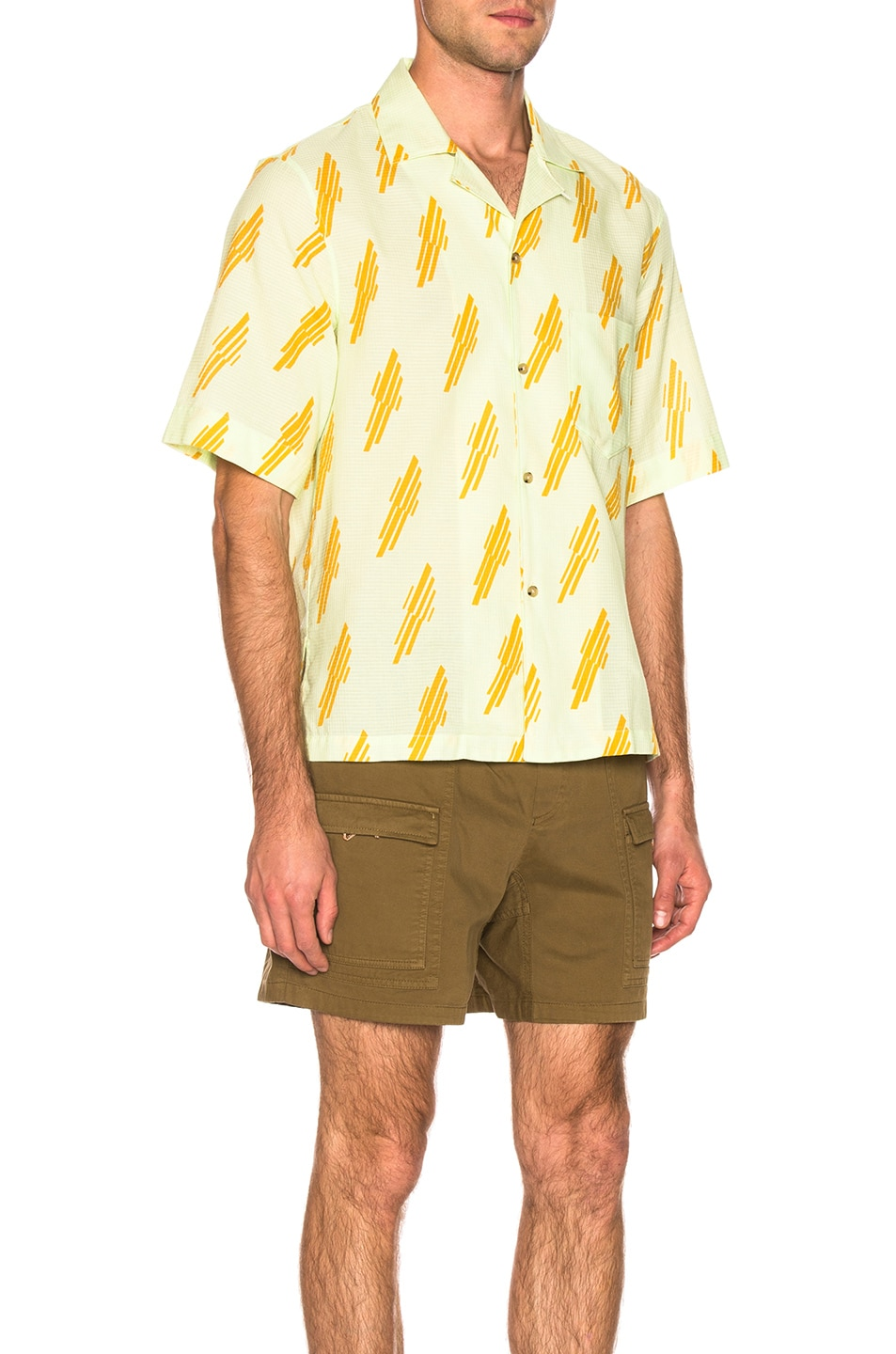Image 3 of Acne Studios Simon Diag Shirt in Mint Green & Sunflower Yellow