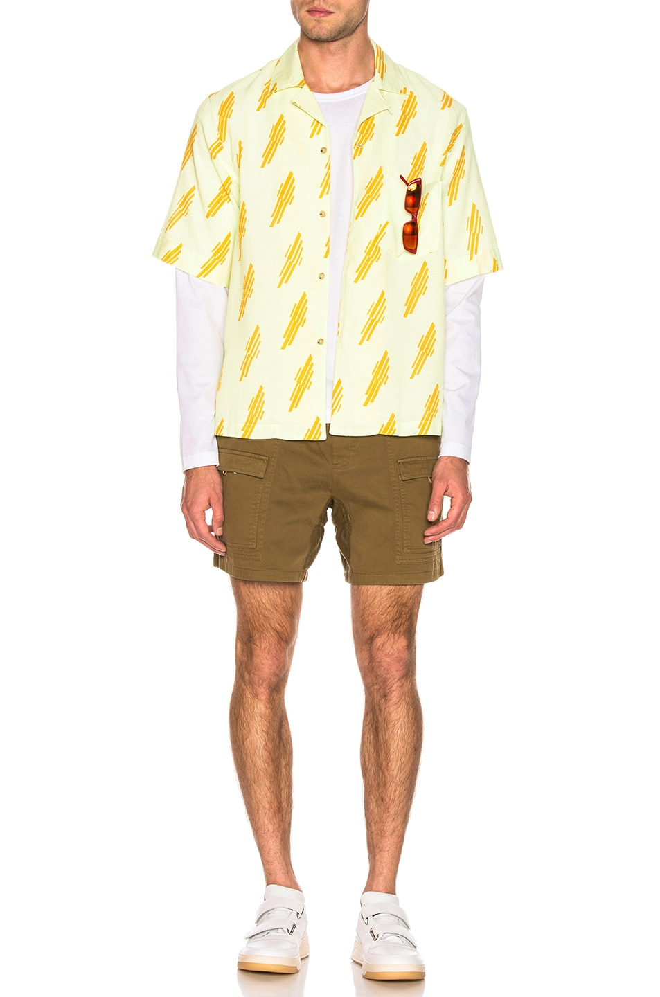 Image 5 of Acne Studios Simon Diag Shirt in Mint Green & Sunflower Yellow
