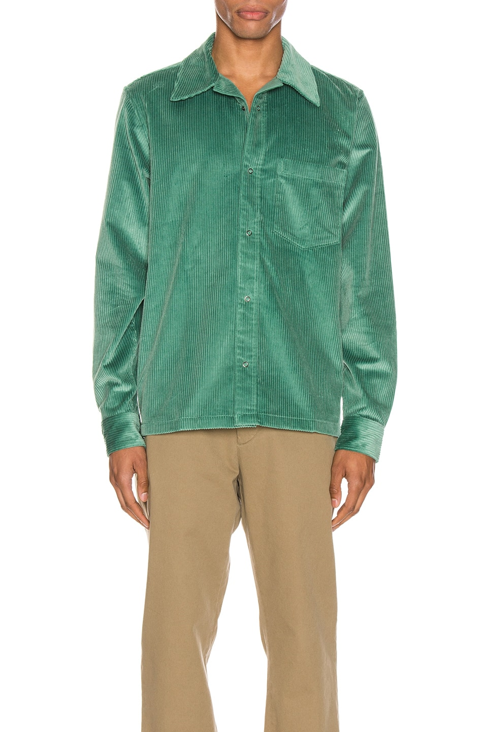Image 1 of Acne Studios Denver New Cord Shirt in Dusty Green