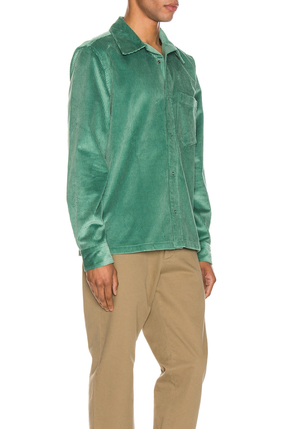 Image 2 of Acne Studios Denver New Cord Shirt in Dusty Green