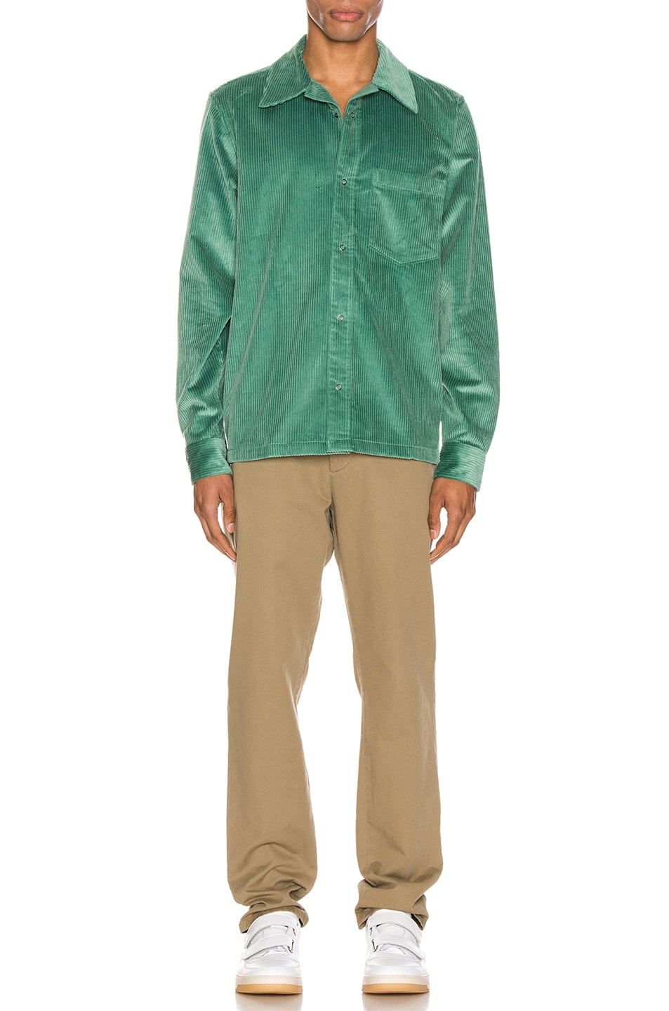 Image 4 of Acne Studios Denver New Cord Shirt in Dusty Green