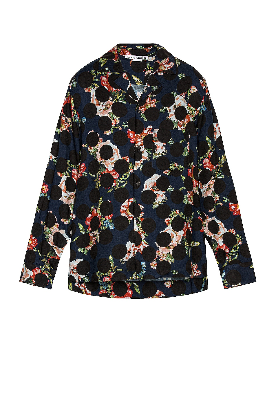 Image 1 of Acne Studios Long Floral Polka Shirt in Navy Blue