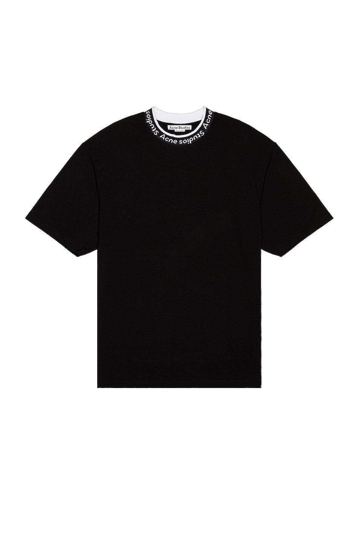 Image 1 of Acne Studios Logo Rib Tee in Black