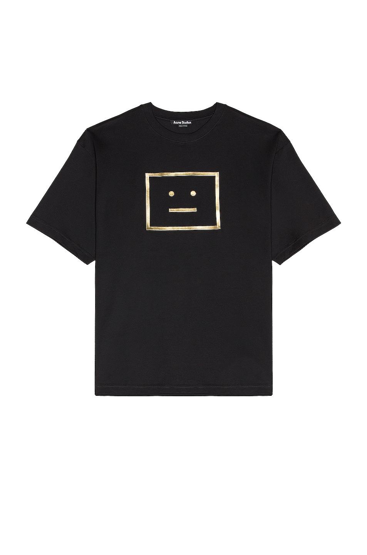 Image 1 of Acne Studios Exford Metallic Face Tee in Black