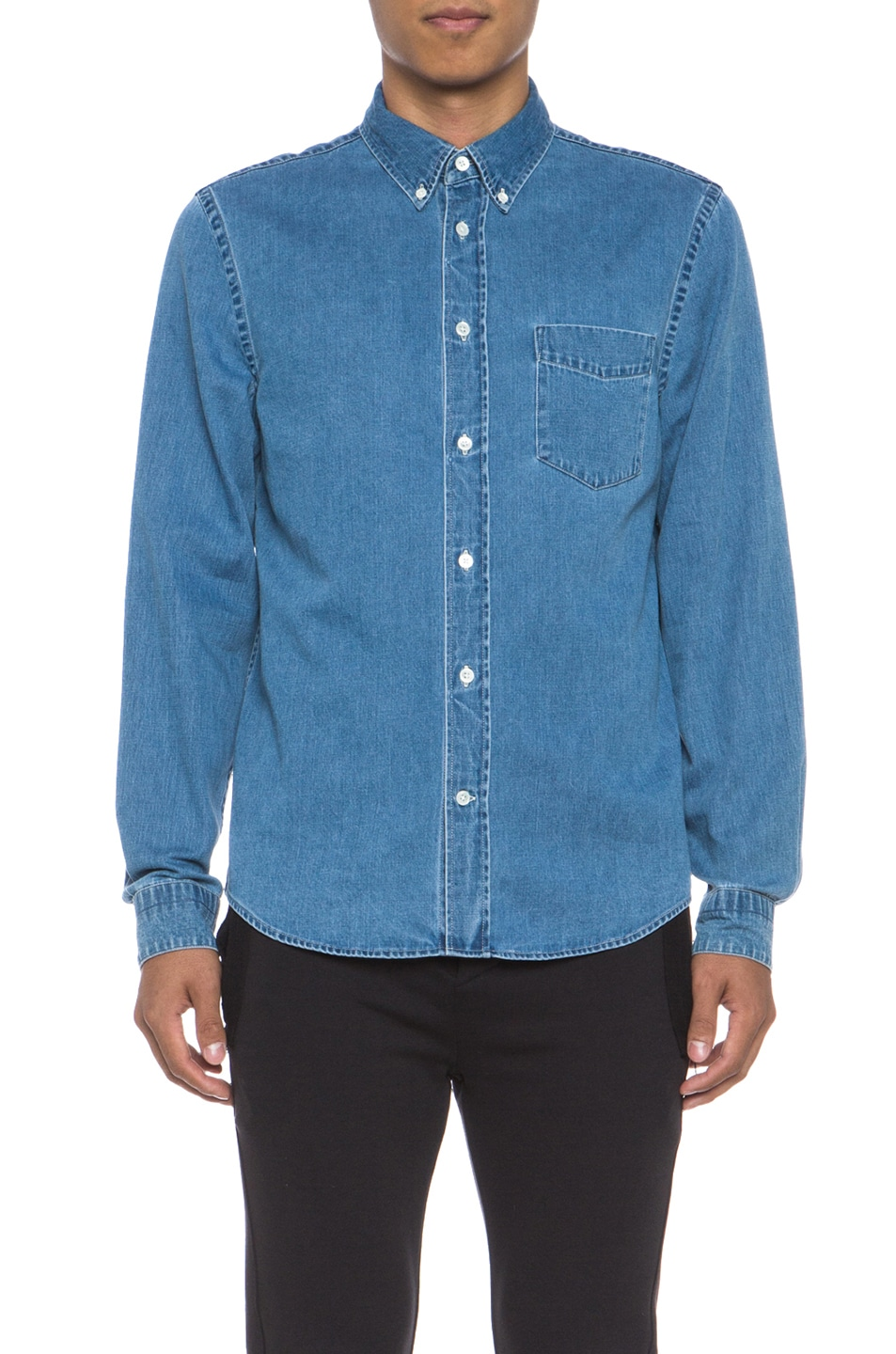 0f29c7f8843 Image 1 of Acne Studios Isherwood Denim Button Down in Bleached
