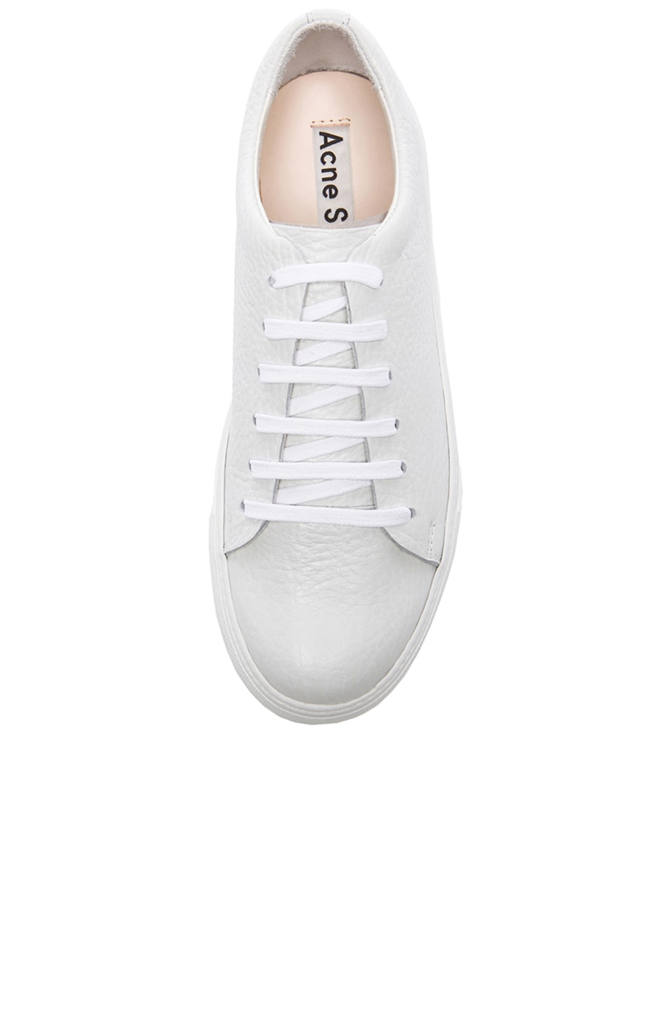 Image 4 of Acne Studios Adrian Grain Leather Sneakers in White