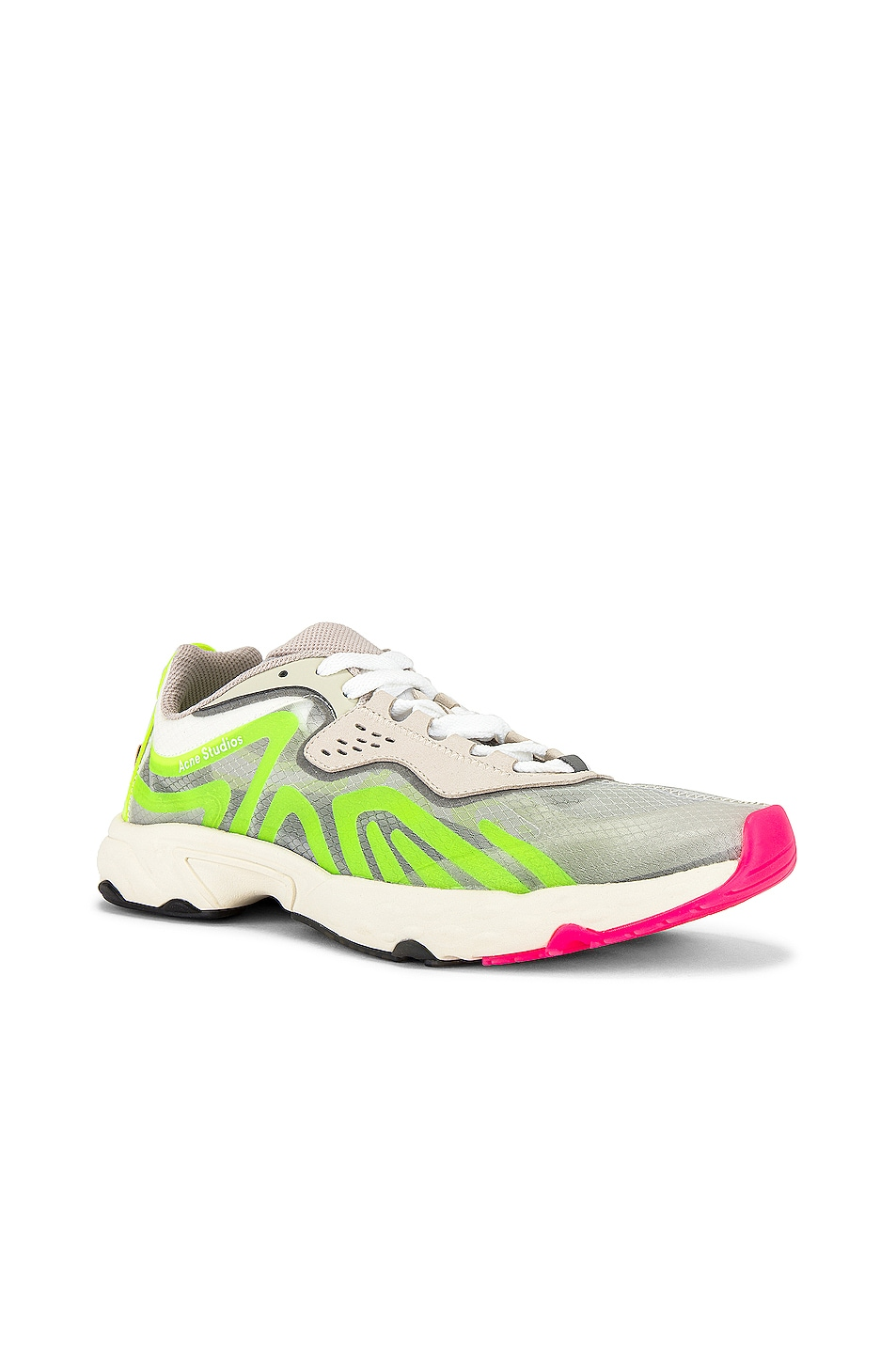 Image 1 of Acne Studios Trail Sneakers in White & Yellow