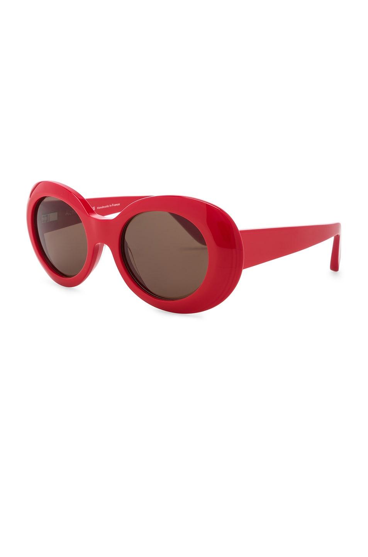 Image 2 of Acne Studios Mustang Sunglasses in Red & Brown