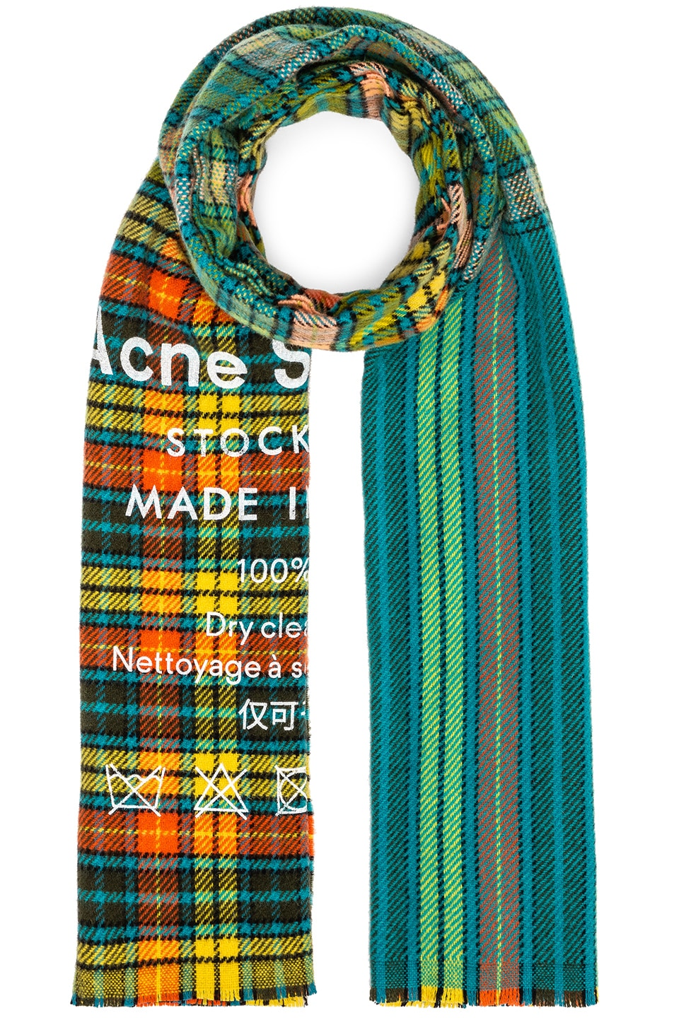 b7bd2e6163c3d Image 1 of Acne Studios Cassiar Check Scarf in Mid Blue   Yellow Check