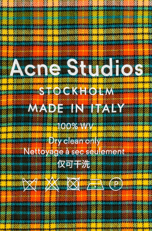 272e224387987 Image 3 of Acne Studios Cassiar Check Scarf in Mid Blue   Yellow Check