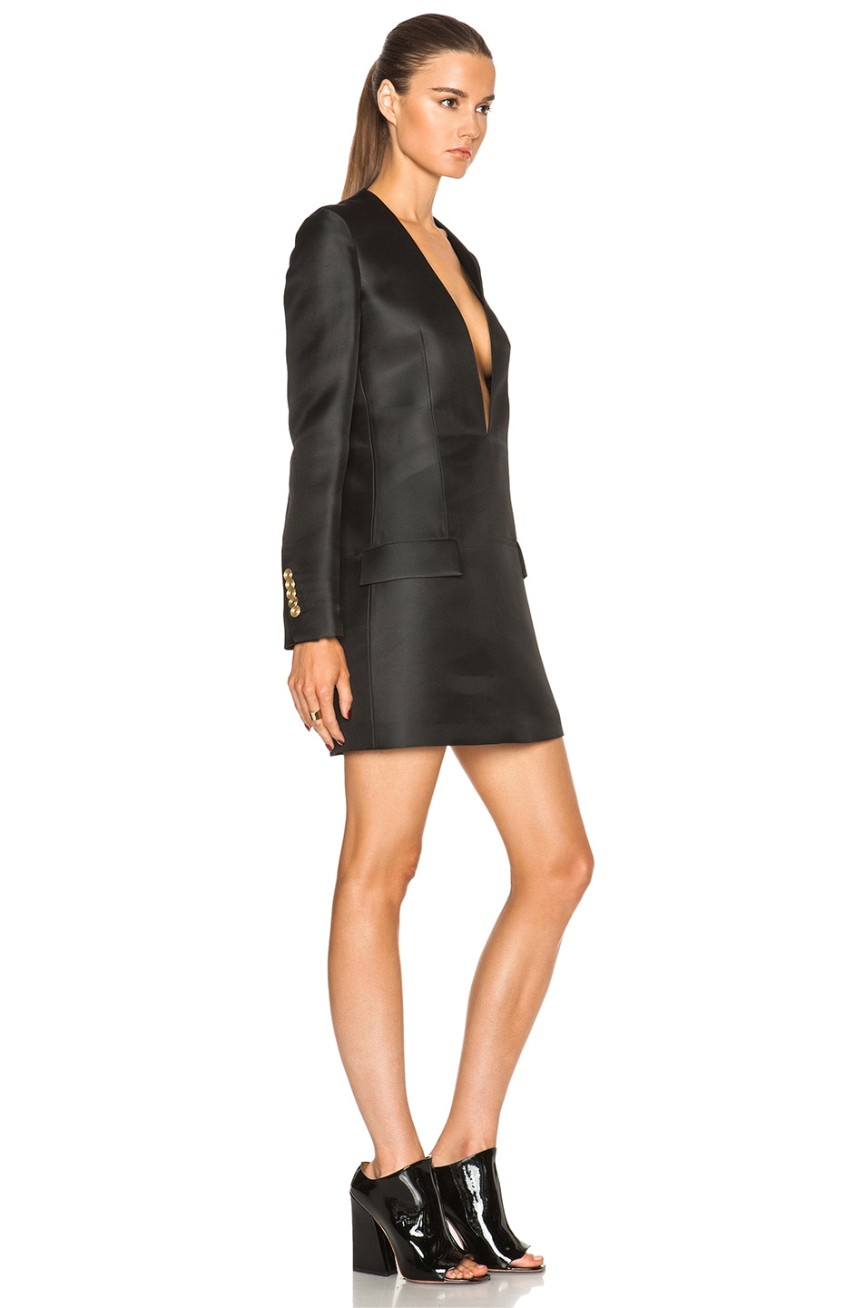 Acne Studios Ryde Organza Suit Jacket Dress in Black | FWRD