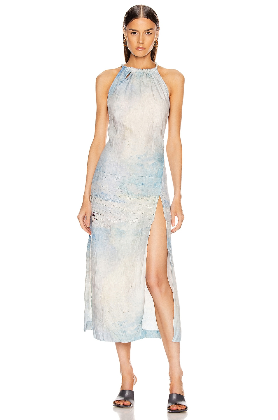 Image 1 of Acne Studios Drusilla Li Painting Dress in Blue & White