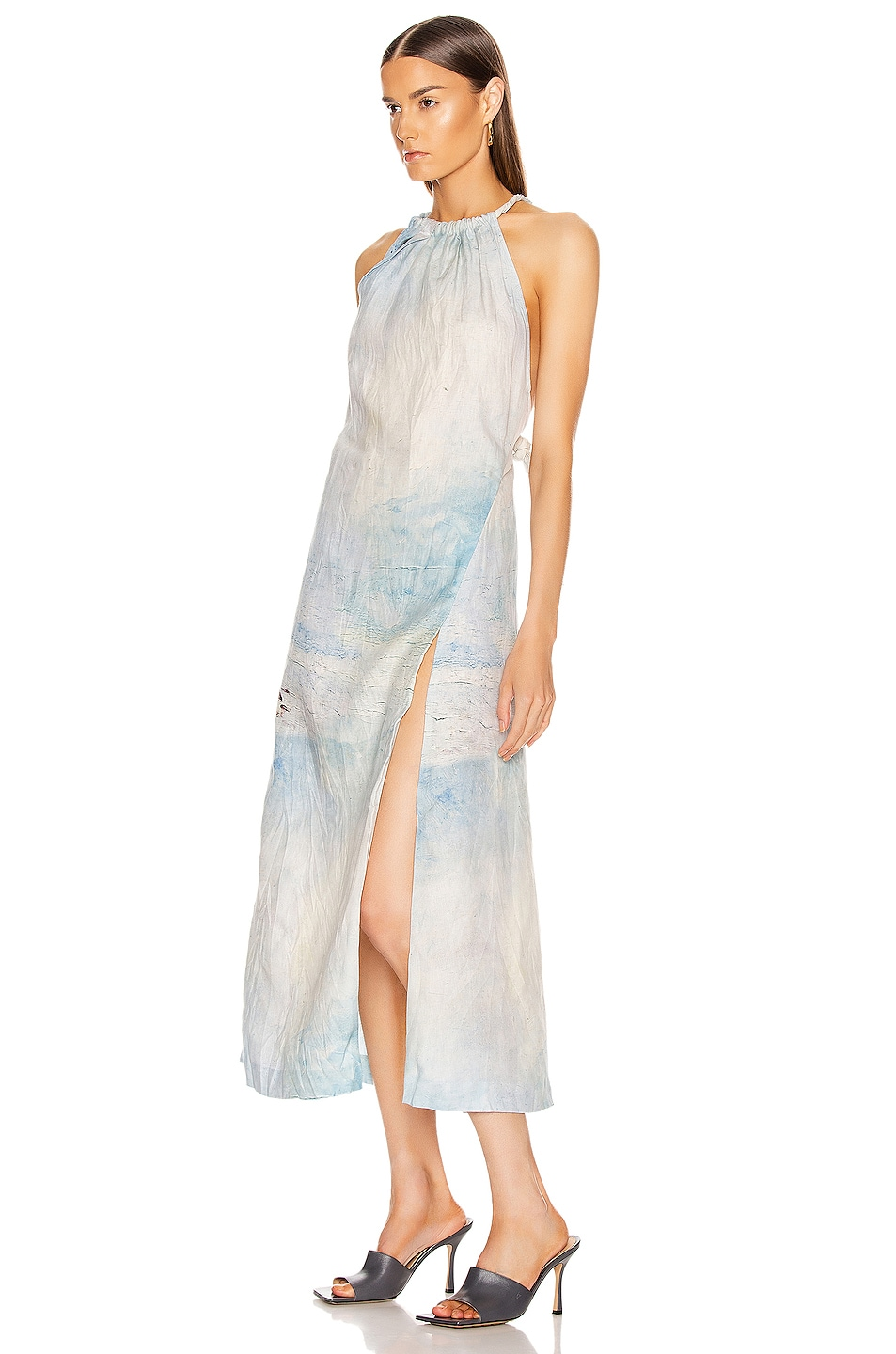 Image 3 of Acne Studios Drusilla Li Painting Dress in Blue & White