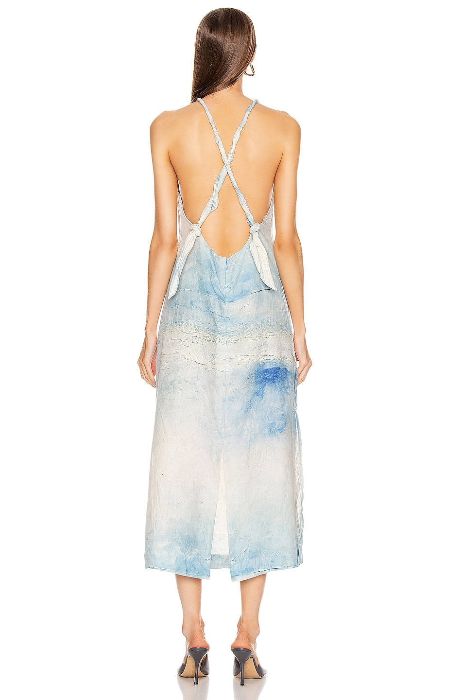Image 4 of Acne Studios Drusilla Li Painting Dress in Blue & White
