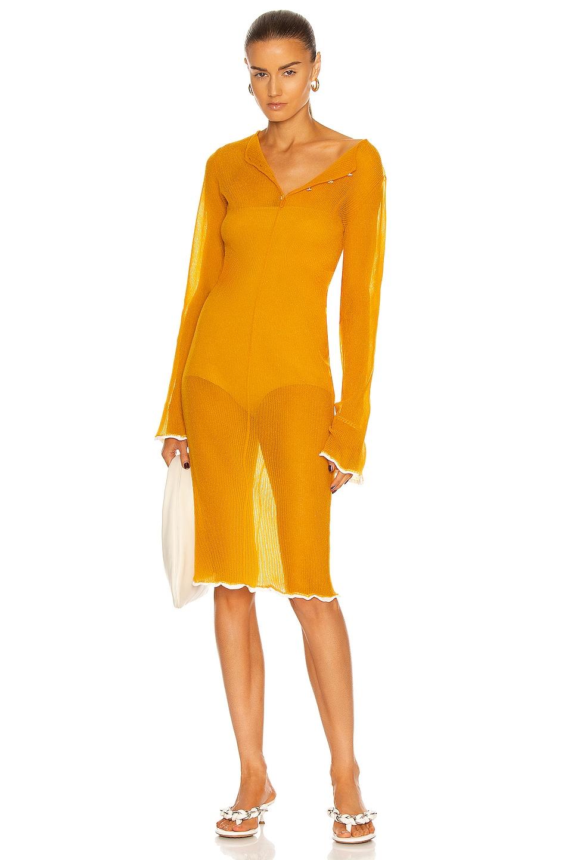 Image 1 of Acne Studios Long Sleeve Midi Dress in Apricot Orange