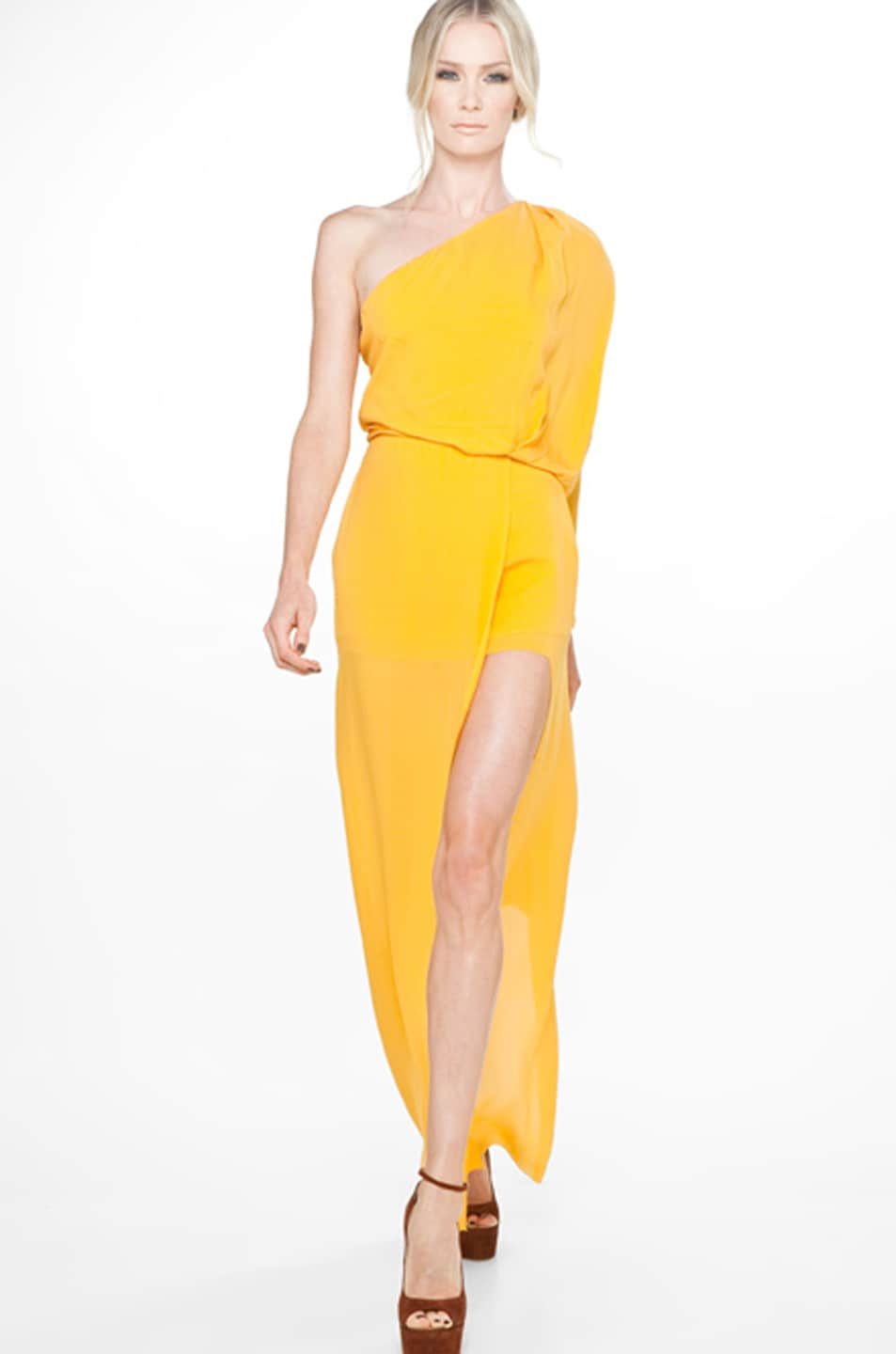 Image 1 Of Acne Studios Emile Silk D Dress In Goldenrod