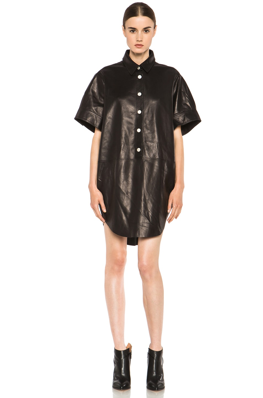 Image 1 of Acne Studios Marla Lambskin Dress in Black Noir
