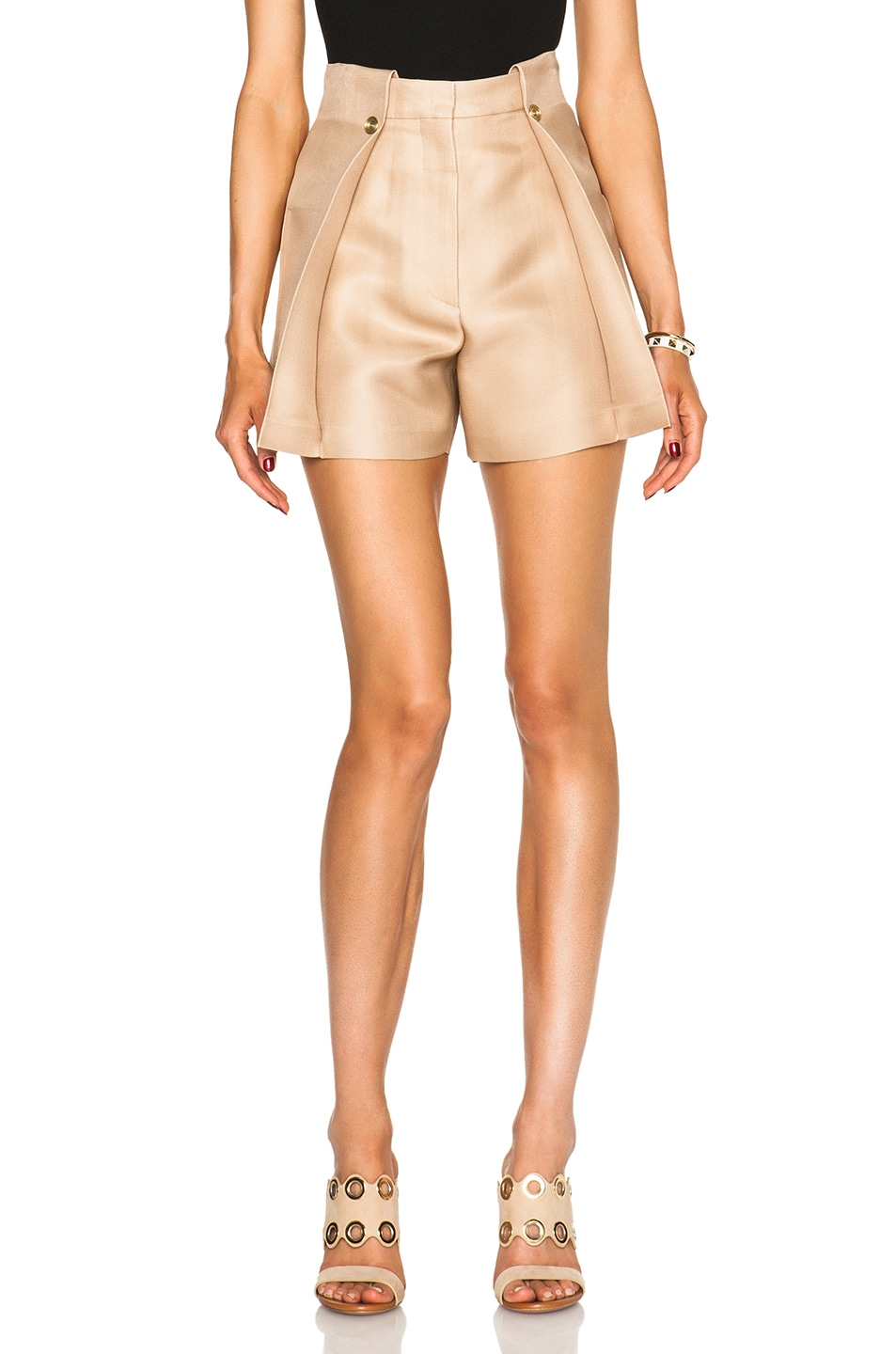 Image 1 of Acne Studios Marsielle High Waist Shorts in Camel