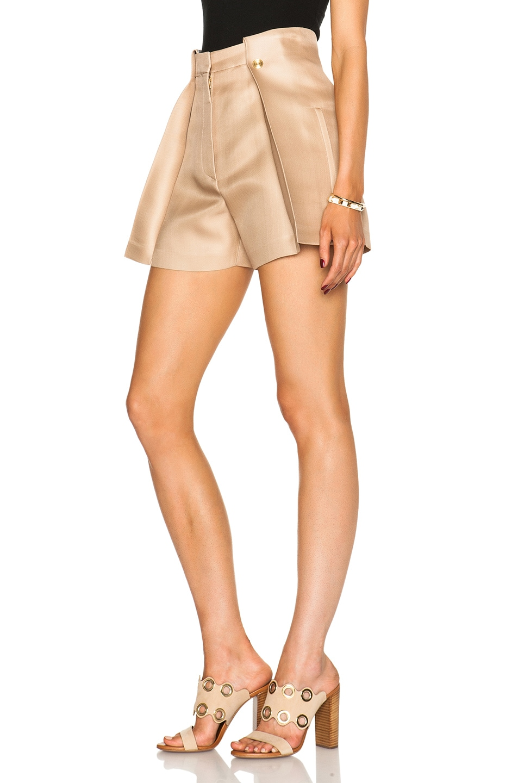 Image 2 of Acne Studios Marsielle High Waist Shorts in Camel