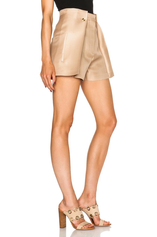 Image 3 of Acne Studios Marsielle High Waist Shorts in Camel