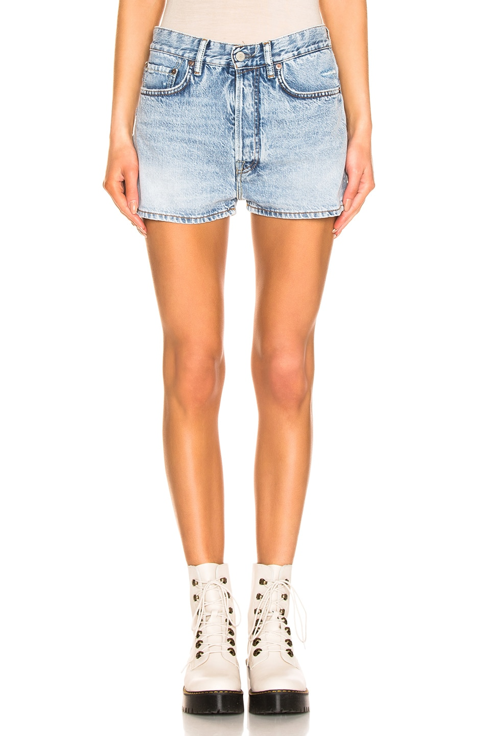 Image 1 of Acne Studios Trash Denim Shorts in Light Blue