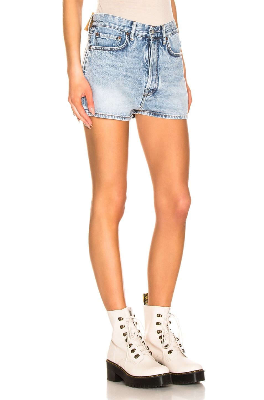Image 2 of Acne Studios Trash Denim Shorts in Light Blue