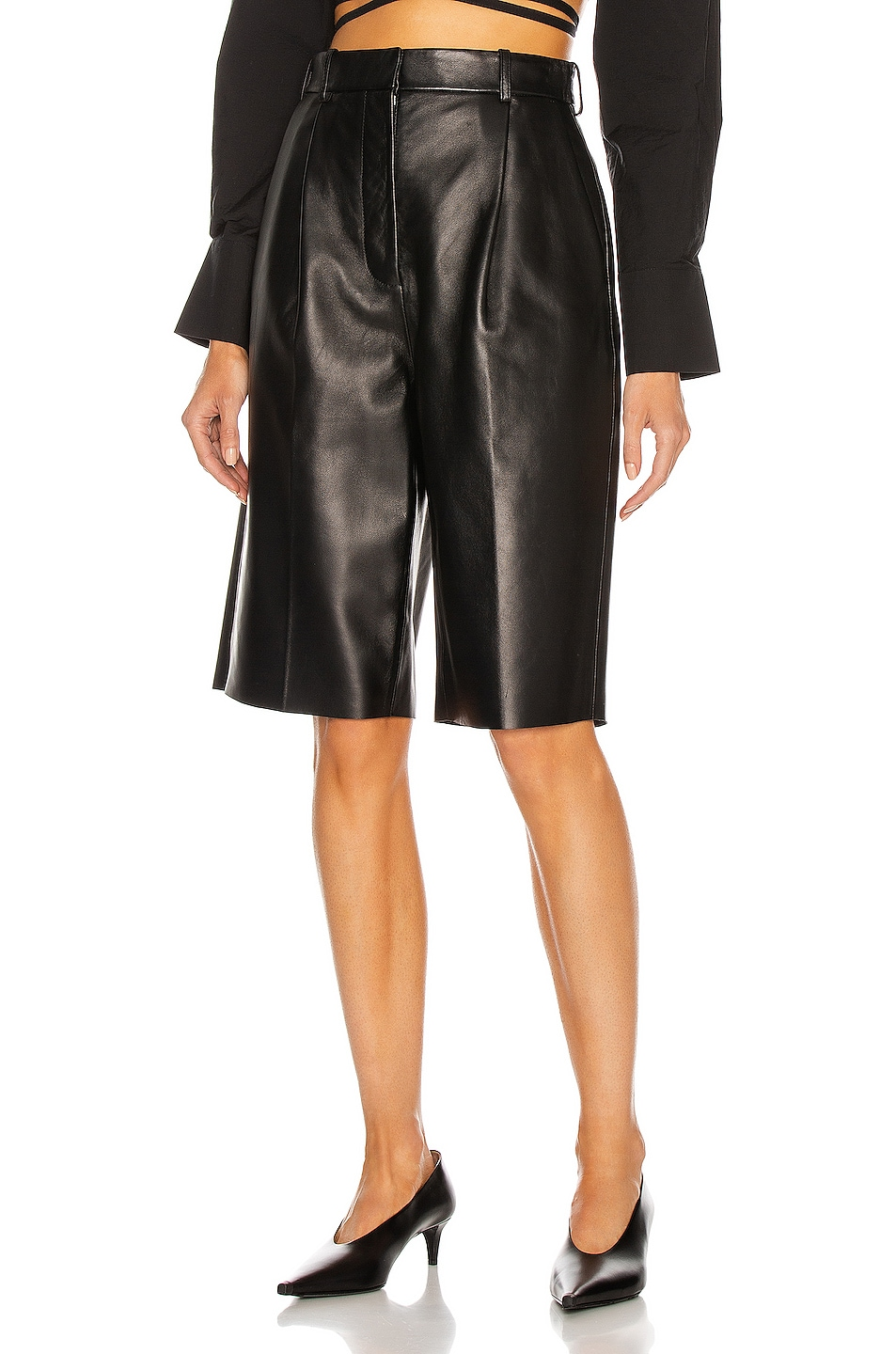 Image 1 of Acne Studios Leather Short in Black