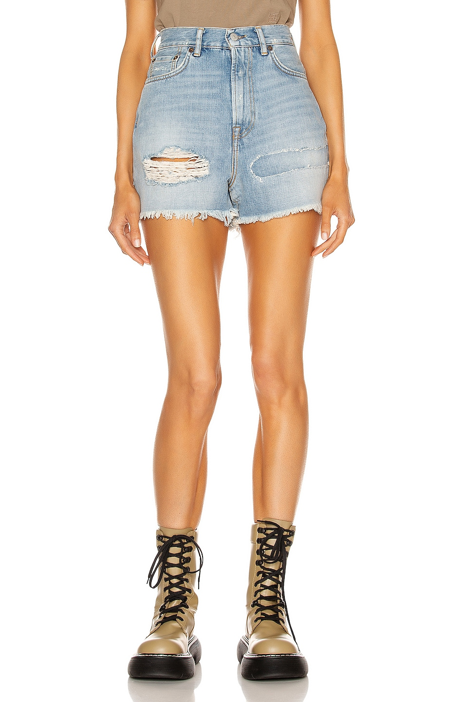 Image 1 of Acne Studios Distressed Short in Light Blue