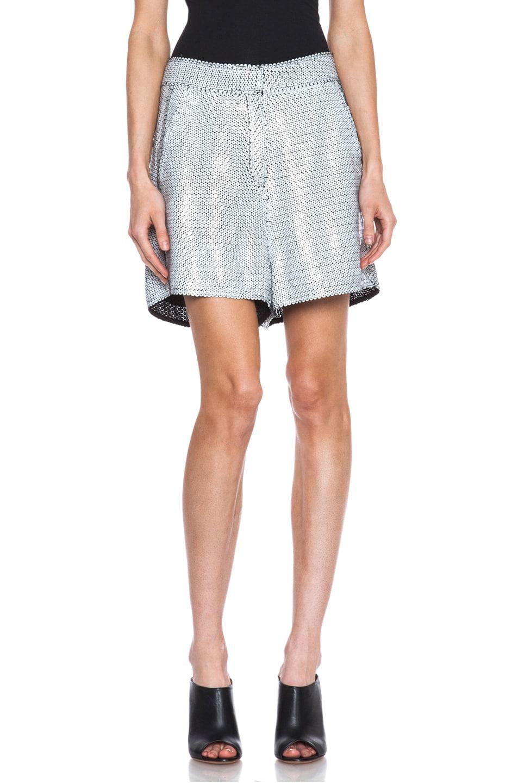 Image 1 of Acne Studios Tine Paillette Embellished Silk Shorts in Black