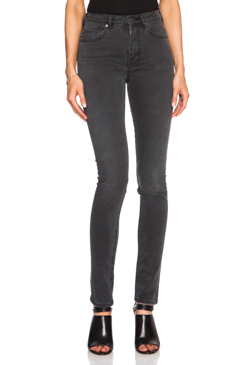 Image 1 of Acne Studios Pin Cotton-Blend High Waisted Skinny in Tar