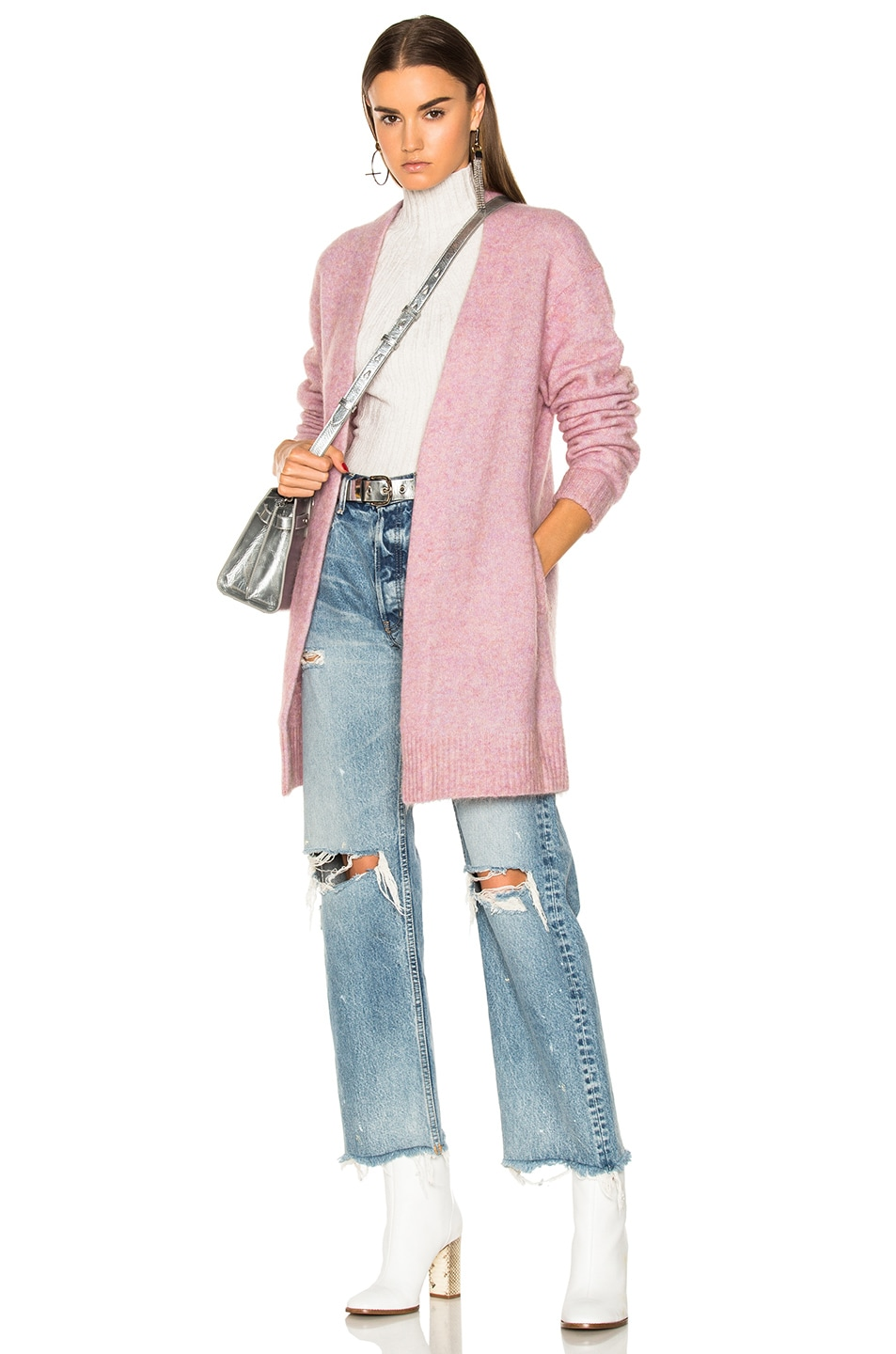 Image 1 of Acne Studios Raya Short Mohair Cardigan in Dusty Pink