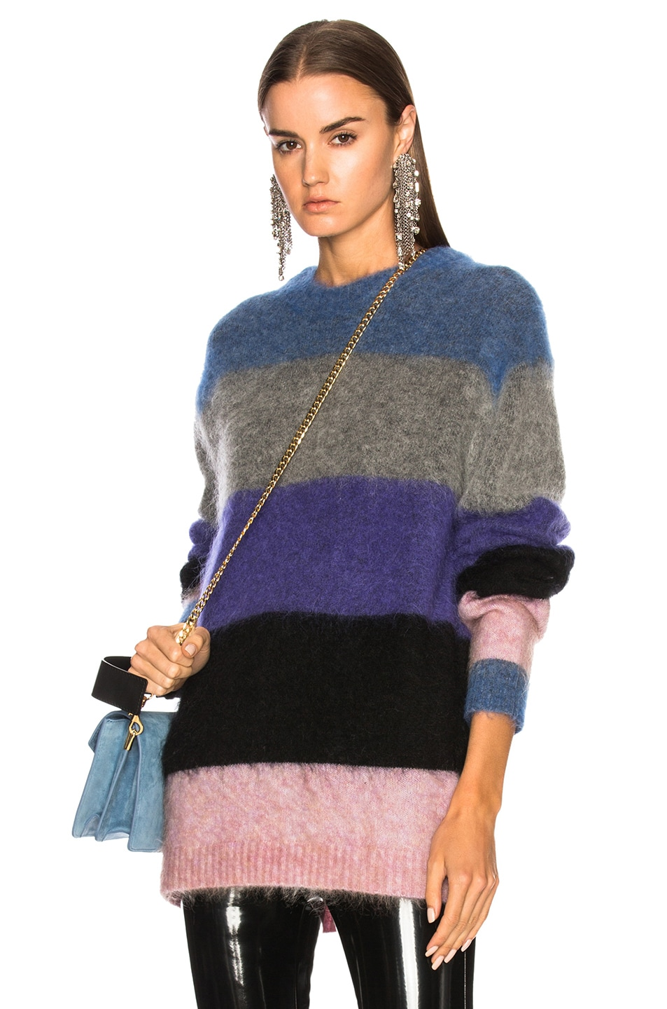 Image 1 of Acne Studios Albah Mohair Sweater in Multi Mix Stripe