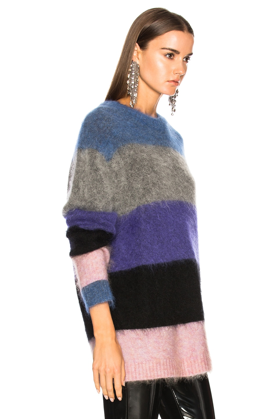 Image 2 of Acne Studios Albah Mohair Sweater in Multi Mix Stripe