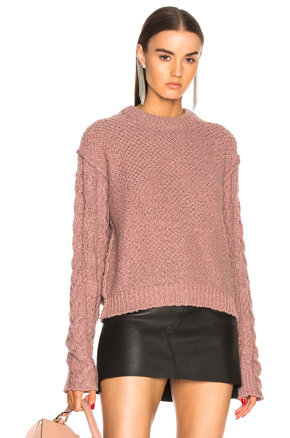 acne studios hila cable sweater in dusty pink fwrd. Black Bedroom Furniture Sets. Home Design Ideas