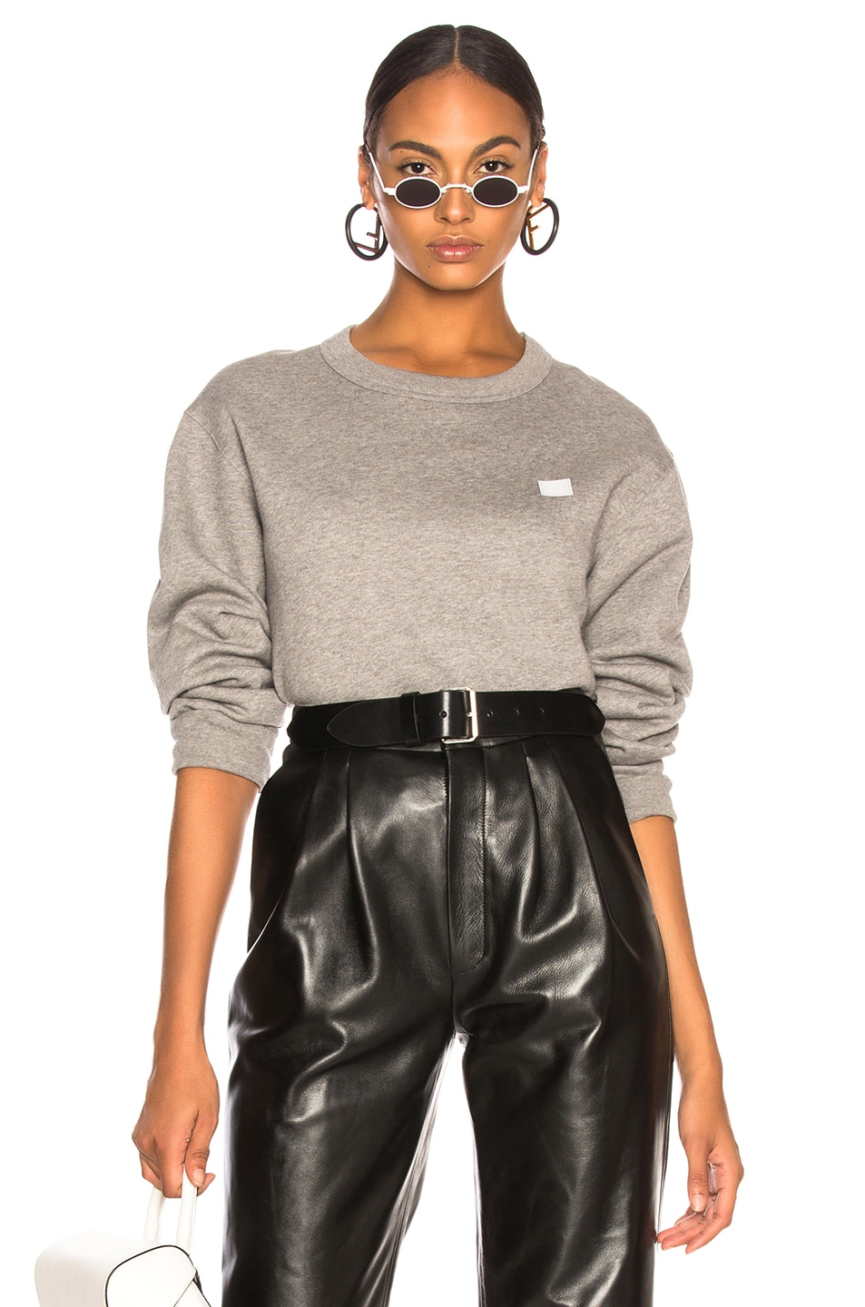 Image 1 of Acne Studios Face Sweater in Light Grey Melange
